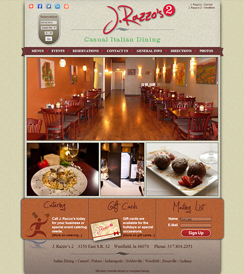 Website for J. Razzo's 2 Italian Restaurant  in Westfield, Indiana