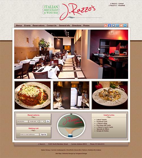 J. Razzo's Italian Restaurant & Wine Bar Website - Carmel, Indiana