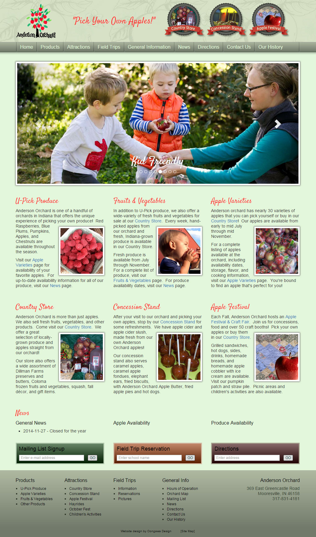 Anderson Orchard website